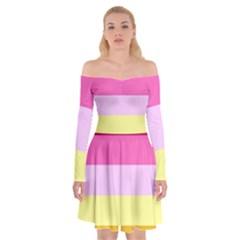 Red Orange Yellow Pink Sunny Color Combo Striped Pattern Stripes Off Shoulder Skater Dress