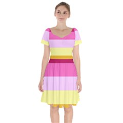 Red Orange Yellow Pink Sunny Color Combo Striped Pattern Stripes Short Sleeve Bardot Dress