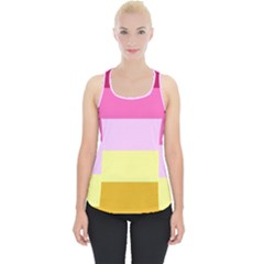 Red Orange Yellow Pink Sunny Color Combo Striped Pattern Stripes Piece Up Tank Top