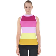 Red Orange Yellow Pink Sunny Color Combo Striped Pattern Stripes Shell Top