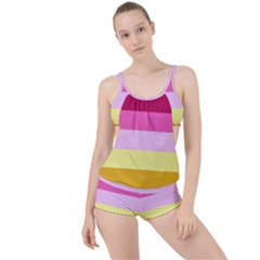 Red Orange Yellow Pink Sunny Color Combo Striped Pattern Stripes Boyleg Tankini Set