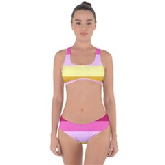 Red Orange Yellow Pink Sunny Color Combo Striped Pattern Stripes Criss Cross Bikini Set