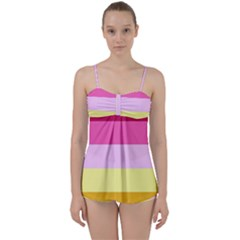 Red Orange Yellow Pink Sunny Color Combo Striped Pattern Stripes Babydoll Tankini Set