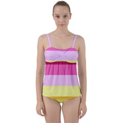 Red Orange Yellow Pink Sunny Color Combo Striped Pattern Stripes Twist Front Tankini Set