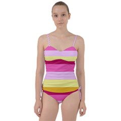 Red Orange Yellow Pink Sunny Color Combo Striped Pattern Stripes Sweetheart Tankini Set