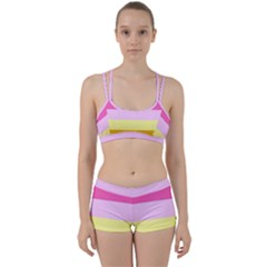 Red Orange Yellow Pink Sunny Color Combo Striped Pattern Stripes Women s Sports Set