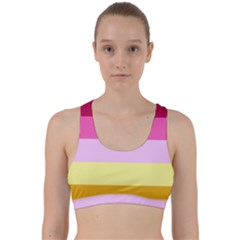 Red Orange Yellow Pink Sunny Color Combo Striped Pattern Stripes Back Weave Sports Bra