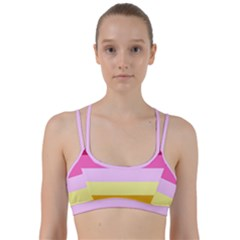 Red Orange Yellow Pink Sunny Color Combo Striped Pattern Stripes Line Them Up Sports Bra