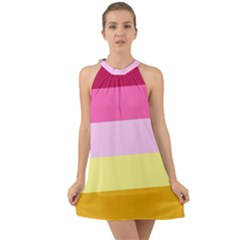 Red Orange Yellow Pink Sunny Color Combo Striped Pattern Stripes Halter Tie Back Chiffon Dress