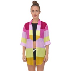 Red Orange Yellow Pink Sunny Color Combo Striped Pattern Stripes Open Front Chiffon Kimono