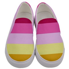 Red Orange Yellow Pink Sunny Color Combo Striped Pattern Stripes Men s Canvas Slip Ons