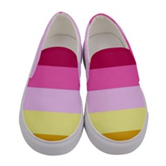 Red Orange Yellow Pink Sunny Color Combo Striped Pattern Stripes Women s Canvas Slip Ons