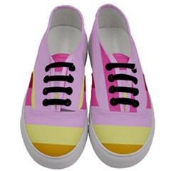 Red Orange Yellow Pink Sunny Color Combo Striped Pattern Stripes Men s Classic Low Top Sneakers
