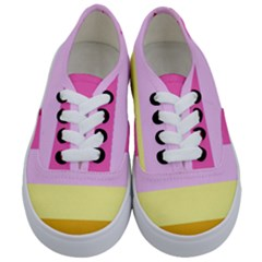 Red Orange Yellow Pink Sunny Color Combo Striped Pattern Stripes Kids  Classic Low Top Sneakers