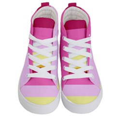 Red Orange Yellow Pink Sunny Color Combo Striped Pattern Stripes Kid s Hi Top Skate Sneakers