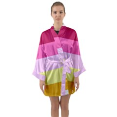 Red Orange Yellow Pink Sunny Color Combo Striped Pattern Stripes Long Sleeve Kimono Robe
