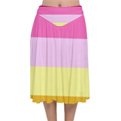 Red Orange Yellow Pink Sunny Color Combo Striped Pattern Stripes Velvet Flared Midi Skirt