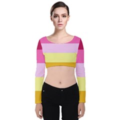 Red Orange Yellow Pink Sunny Color Combo Striped Pattern Stripes Velvet Crop Top