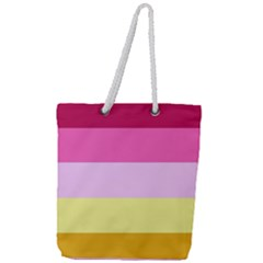 Red Orange Yellow Pink Sunny Color Combo Striped Pattern Stripes Full Print Rope Handle Tote (large)