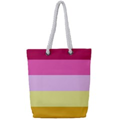 Red Orange Yellow Pink Sunny Color Combo Striped Pattern Stripes Full Print Rope Handle Tote (small)