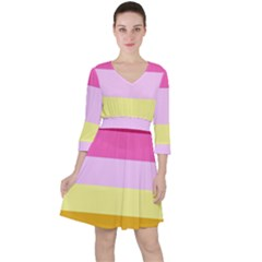 Red Orange Yellow Pink Sunny Color Combo Striped Pattern Stripes Ruffle Dress