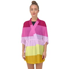 Red Orange Yellow Pink Sunny Color Combo Striped Pattern Stripes Half Sleeve Chiffon Kimono