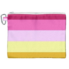 Red Orange Yellow Pink Sunny Color Combo Striped Pattern Stripes Canvas Cosmetic Bag (xxl)