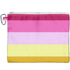 Red Orange Yellow Pink Sunny Color Combo Striped Pattern Stripes Canvas Cosmetic Bag (xxxl)