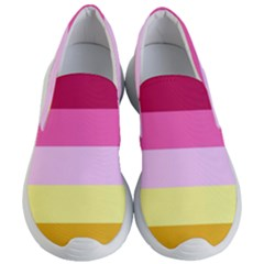 Red Orange Yellow Pink Sunny Color Combo Striped Pattern Stripes Women s Lightweight Slip Ons
