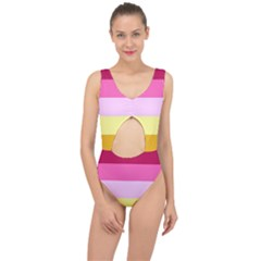 Red Orange Yellow Pink Sunny Color Combo Striped Pattern Stripes Center Cut Out Swimsuit