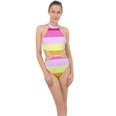 Red Orange Yellow Pink Sunny Color Combo Striped Pattern Stripes Halter Side Cut Swimsuit