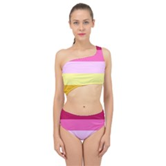 Red Orange Yellow Pink Sunny Color Combo Striped Pattern Stripes Spliced Up Swimsuit