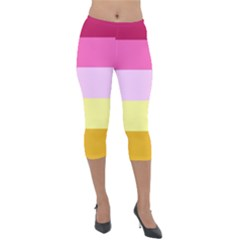 Red Orange Yellow Pink Sunny Color Combo Striped Pattern Stripes Lightweight Velour Capri Leggings