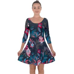 Floral Pattern Quarter Sleeve Skater Dress