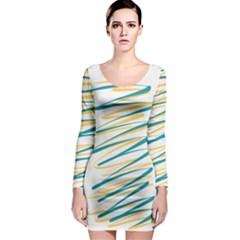 Twist Yellow Dark Green Long Sleeve Bodycon Dress