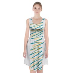 Twist Yellow Dark Green Racerback Midi Dress