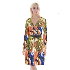 Painting And Letters Long Sleeve Velvet Front Wrap Dress