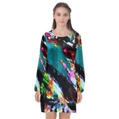 Tulips First Sprouts 6 Long Sleeve Chiffon Shift Dress