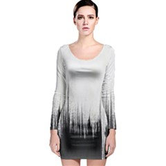 Simple Abstract Art Long Sleeve Bodycon Dress