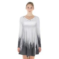 Simple Abstract Art Long Sleeve Velvet V-neck Dress