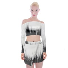 Simple Abstract Art Off Shoulder Top with Mini Skirt Set