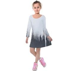 Simple Abstract Art Kids  Long Sleeve Velvet Dress