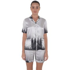 Simple Abstract Art Satin Short Sleeve Pyjamas Set