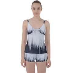Simple Abstract Art Tie Front Two Piece Tankini