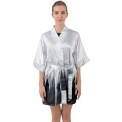 Simple Abstract Art Quarter Sleeve Kimono Robe