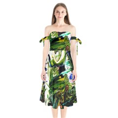 Bow Of Scorpio Before A Butterfly 8 Shoulder Tie Bardot Midi Dress