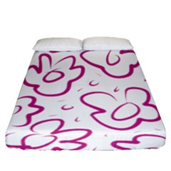 Flower Pink Fitted Sheet (queen Size)
