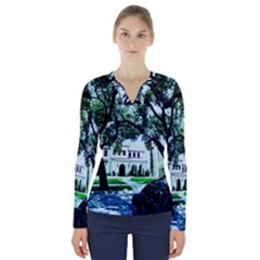 Hot Day In Dallas 16 V Neck Long Sleeve Top