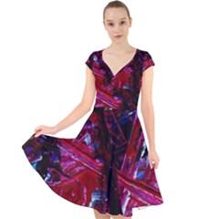 Sacred Knowledge 1 Cap Sleeve Front Wrap Midi Dress