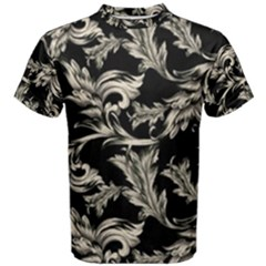 Floral Pattern Black Men s Cotton Tee
